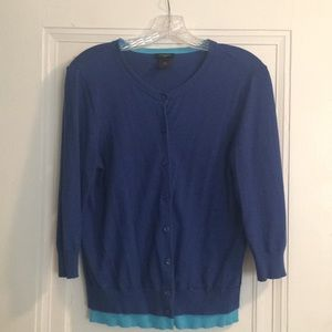 Royal blue 3/4 sleeve cardigan with contrast trim